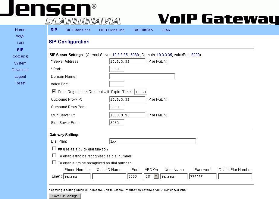 Jensen Scandinavia VoIP Gateway