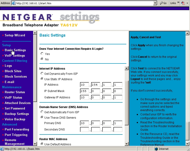Netgear Broadband Voice Adapter TA612V - broadband voip gateway